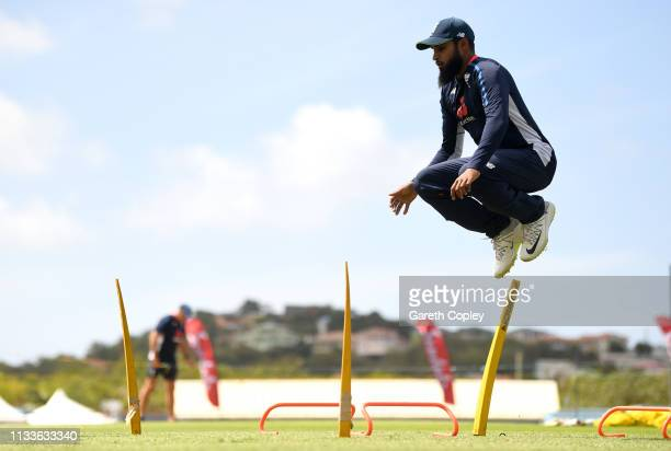 Adil Rashid of England warms up ahead of a nets session at the Daren Sammy Cricket Stadium on March 04 2019 in Gros Islet Saint Lucia