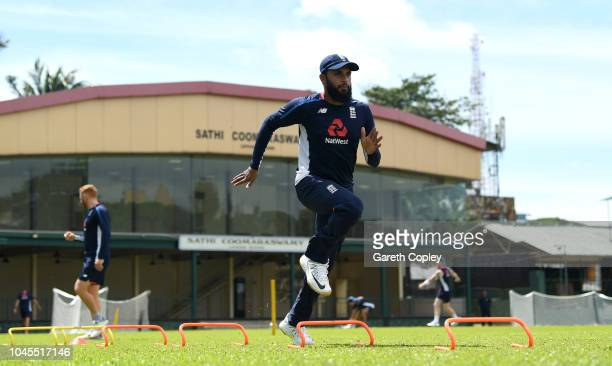 Adil Rashid of England warms up during a nets session at P Sara Oval on October 4 2018 in Colombo