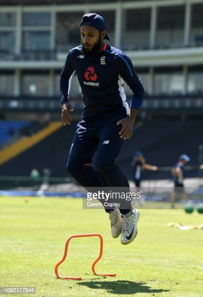 Adil Rashid of England warms up during a nets session at Pallekele International Cricket Stadium on October 15 2018 in Kandy