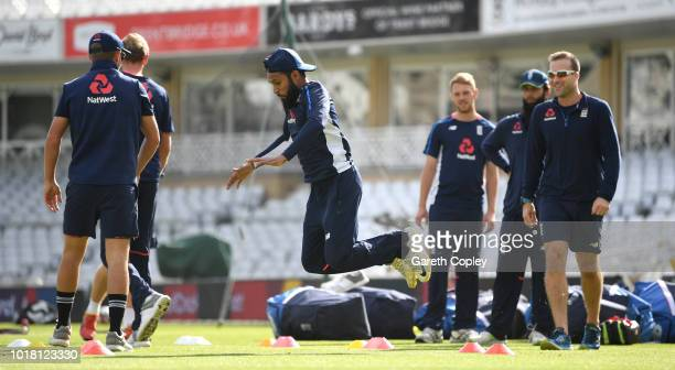 Adil Rashid of England warms up during a nets session at Trent Bridge on August 17 2018 in Nottingham England
