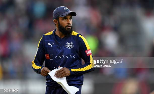 Adil Rashid of Yorkshire during the Vitality Blast match between Lancashire Lighting and Yorkshire Vikings at Old Trafford on July 20, 2018 in...