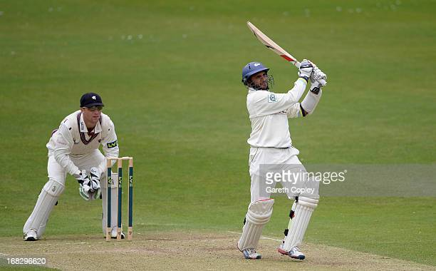 Adil Rashid of Yorkshire hits out for six runs during day two of the LV County Championship Division One match between Yorkshire and Somerset at...