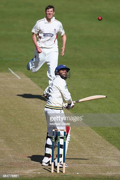 Adil Rashid of Yorkshire looks up at the ball after a delivery from Craig Overton of Somerset during day two of the LV County Championship match...