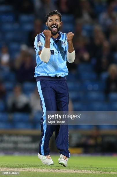 Adil Rashid of Yorkshire Vikings celebrates taking the wicket of Alex Wakely of Northamptonshire Steelbacks during the NatWest T20 Blast at...
