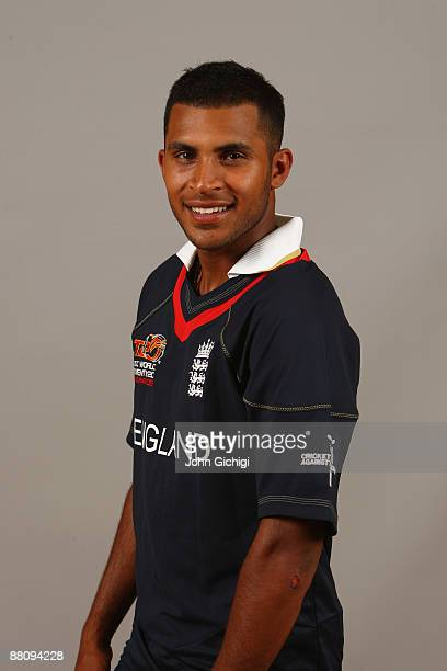 Adil Rashid poses for a portrait prior to the ICC World Twenty20 at Hart Hotel on June 1 2009 in Nottingham England