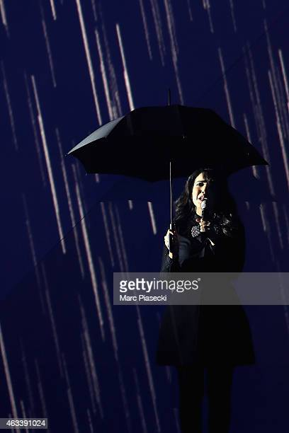 Adila Sedraia aka Indila performs during the 30th 'Victoires de la Musique' French Music Awards Ceremony at le Zenith on February 13 2015 in Paris...