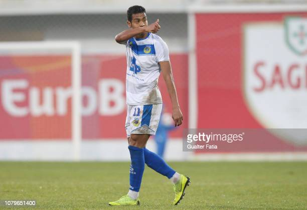 Adilio Santos of FC Arouca celebrates after scoring a goal during the Ledman Liga Pro match between GD Estoril Praia and FC Arouca at Estadio Antonio...