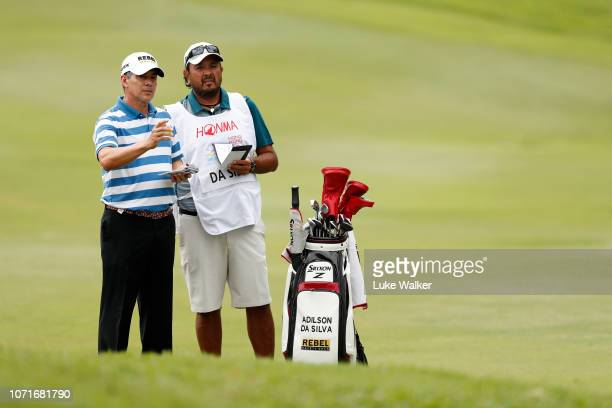 Adilson Da Silva of Brazil and his caddie on the 3rd hole during day three of the Honma Hong Kong Open at The Hong Kong Golf Club on November 24 2018...