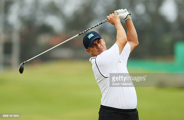 Adilson da Silva of Brazil hits a shot during a practice round on Day 4 of the Rio 2016 Olympic Games at Olympic Golf Course on August 10 2016 in Rio...