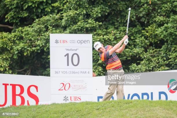 Adilson Da Silva of Brazil hits a shot during round four of the UBS Hong Kong Open at The Hong Kong Golf Club on November 26, 2017 in Hong Kong, Hong...