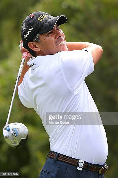 Adilson da Silva of Brazil hits a tee shot during day three of the World Cup of Golf at Royal Melbourne Golf Course on November 23 2013 in Melbourne...