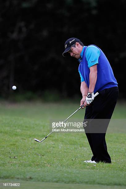 Adilson da Silva of Brazil hits his shot on the 11th hole during Day Two of the Africa Open at East London Golf Club on February 15 2013 in East...