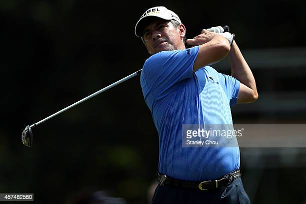Adilson Da Silva of Brazil in action during the final round of The Hong Kong open at The Hong Kong Golf Club on October 19 2014 in Hong Kong Hong Kong