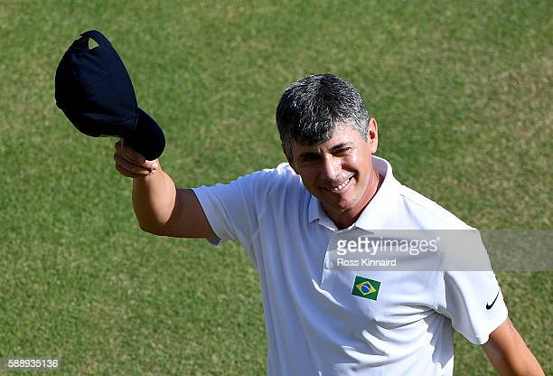 Adilson da Silva of Brazil on the 18th green during the second round of the Olympic Golf on Day 7 of the Rio 2016 Olympic Games at the Olympic Golf...