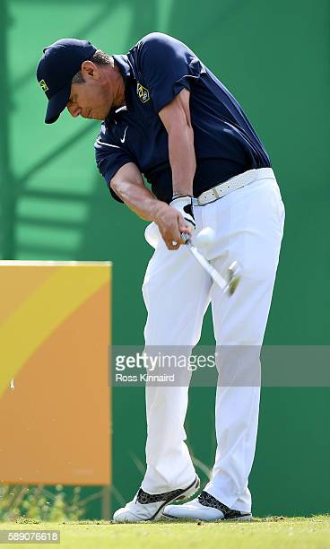 Adilson da Silva of Brazil on the 8th tee during the third round of the Mens Individual Stroke Play event on Day 8 of the Rio 2016 Olympic Games at...