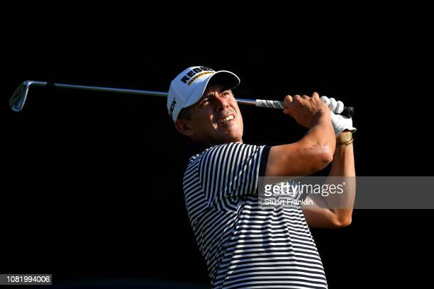 Adilson da Silva of Brazil plays a shot during day one of the Alfred Dunhill Championships at Leopard Creek Country Golf Club on December 13 2018 in...