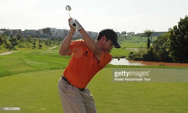 Adilson Da Silva of Brazil plays a shot during previews ahead of the Iskandar Johor Open at Horizon Hills Golf Country Club on December 12 2012 in...