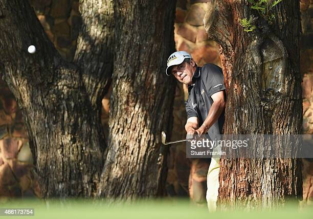 Adilson Da Silva of Brazil plays a shot during the third round of the Tshwane Open at Pretoria Country Club on March 14 2015 in Pretoria South Africa