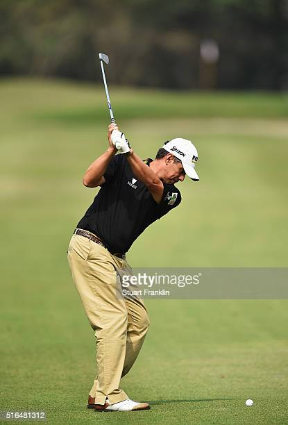 Adilson Da Silva of Brazil plays a shot during the third round of the Hero Indian Open at Delhi Golf Club on March 19 2016 in New Delhi India