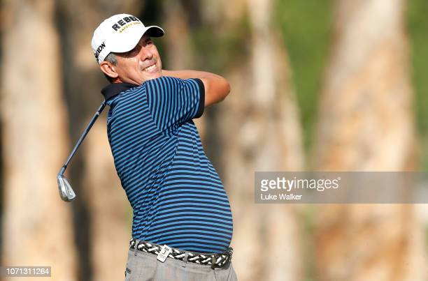Adilson Da Silva of Brazil plays his 2nd shot on the 7th hole during day two of the Honma Hong Kong Open at The Hong Kong Golf Club on November 23...
