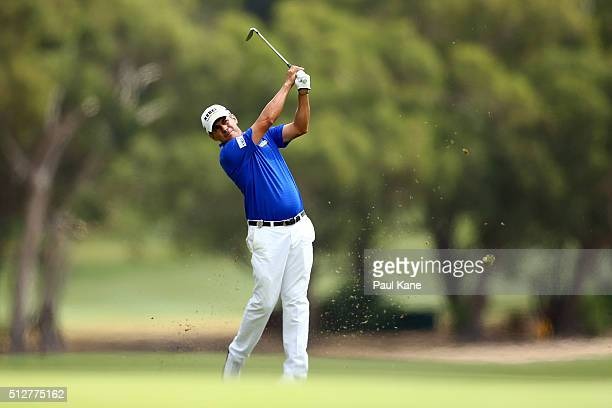 Adilson da Silva of Brazil plays his second shot on the 3rd hole during day four of the 2016 Perth International at Karrinyup GC on February 28 2016...