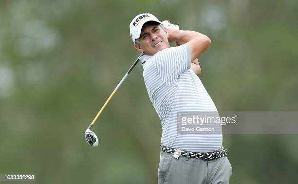 Adilson Da Silva of Brazil plays his second shot on the par 5 second hole during the final round of the Alfred Dunhill Championships at Leopard Creek...