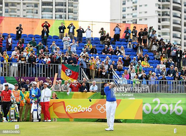 Adilson da Silva of Brazil plays his shot from the first tee during the first round of men's golf on Day 6 of the Rio 2016 Olympics at the Olympic...