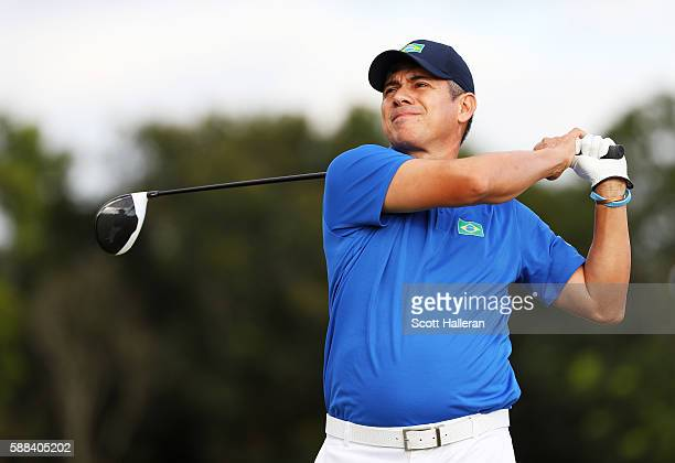 Adilson da Silva of Brazil plays his shot from the third tee during the first round of men's golf on Day 6 of the Rio 2016 Olympics at the Olympic...