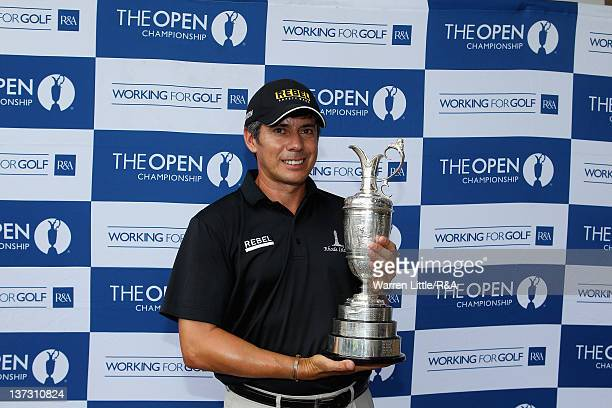 Adilson Da Silva of Brazil poses with the Claret Jug after qualifying for The Open Championship at International Final Qualifying Africa played on...