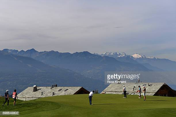 Adilson Da Silva of Brazil putts on the seventh green during the third round of the Omega European Masters at CranssurSierre Golf Club on September 3...