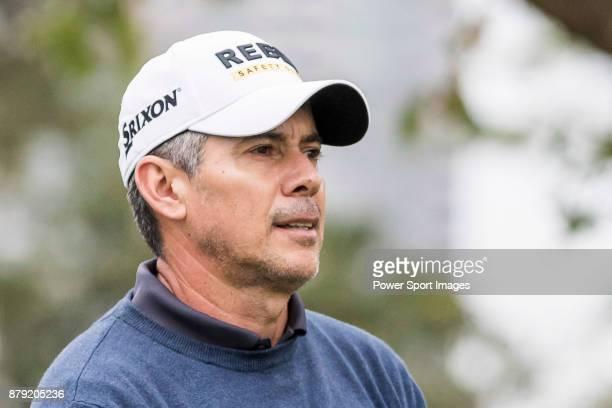 Adilson Da Silva of Brazil reacts during round four of the UBS Hong Kong Open at The Hong Kong Golf Club on November 26, 2017 in Hong Kong, Hong Kong.