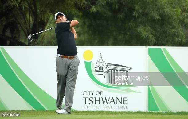 Adilson Da Silva of Brazil tees off on the 18th during Day Two of The Tshwane Open at Pretoria Country Club on March 3 2017 in Pretoria South Africa