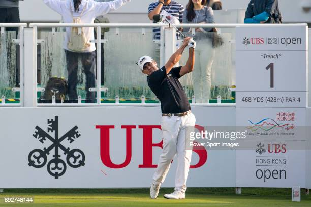 Adilson Da Silva of Brazil tees off the first hole during the 58th UBS Hong Kong Golf Open as part of the European Tour on 10 December 2016 at the...