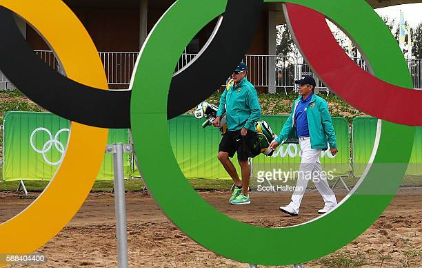 Adilson da Silva of Brazil walks to the first tee during the first round of men's golf on Day 6 of the Rio 2016 Olympics at the Olympic Golf Course...