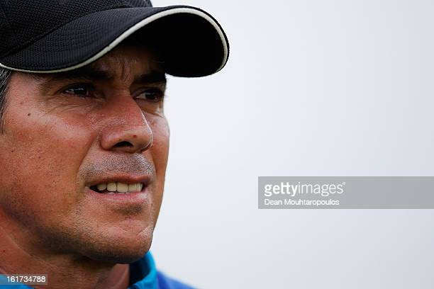 Adilson da Silva of Brazil watches his shot on the 11th hole during Day Two of the Africa Open at East London Golf Club on February 15 2013 in East...