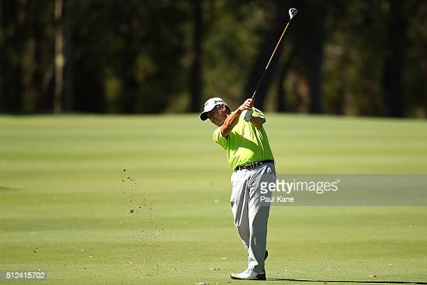 Adilson de Silva of Brazil plays his second shot on the 16th hole during day two of the 2016 Perth International at Karrinyup GC on February 26 2016...