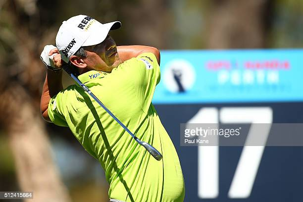 Adilson de Silva of Brazil plays his tee shot on the 17th hole during day two of the 2016 Perth International at Karrinyup GC on February 26 2016 in...