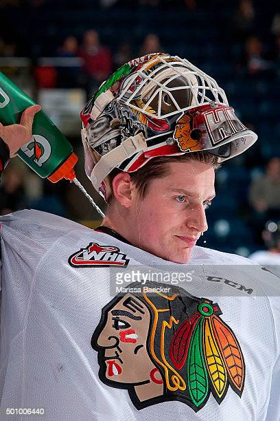 Adin Hill of Portland Winterhawks cools down at the bench against the Kelowna Rockets on December 5 2015 at Prospera Place in Kelowna British...