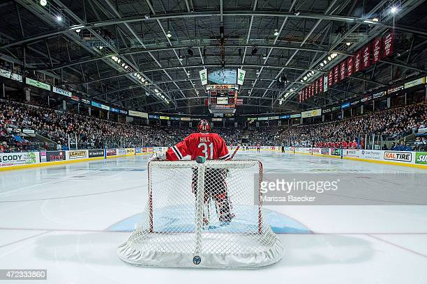Adin Hill of Portland Winterhawks stands in net against the Kelowna Rockets during game 5 of the Western Conference Final on May 1 2015 at Prospera...