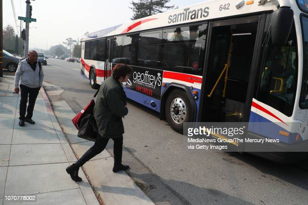 Adina Levin center of the group Seamless Transit boards a samTrans bus on Thursday Nov 15 in San Mateo Calif The advocacy organization would like to...