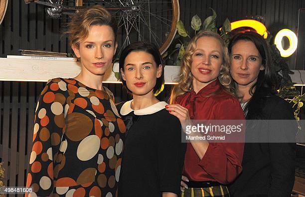 Adina Vetter Martina Ebm Nina Proll and Maria Koestlinger pose during the 'Vorstadtweiber' photo call at 25Hours Hotel Vienna on November 23 2015 in...