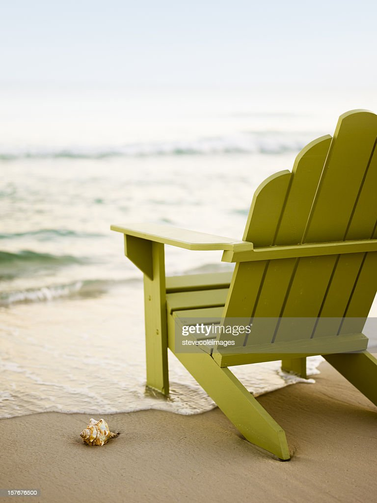 Adirondack Chair on Beach : Stock Photo