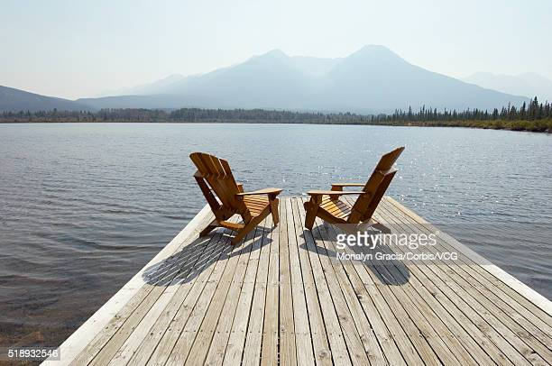 Adirondack chairs at the lake