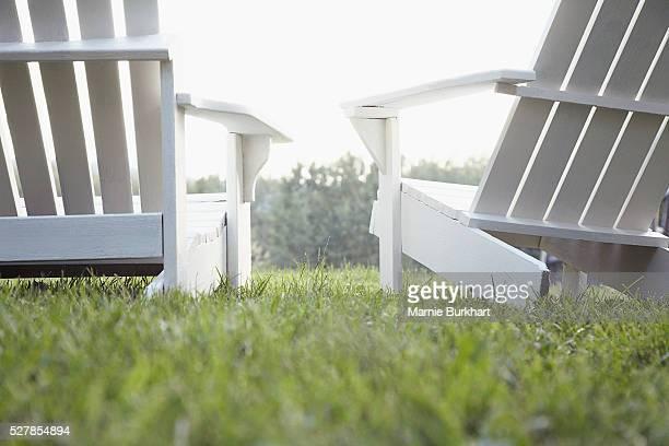Adirondack chairs on lawn