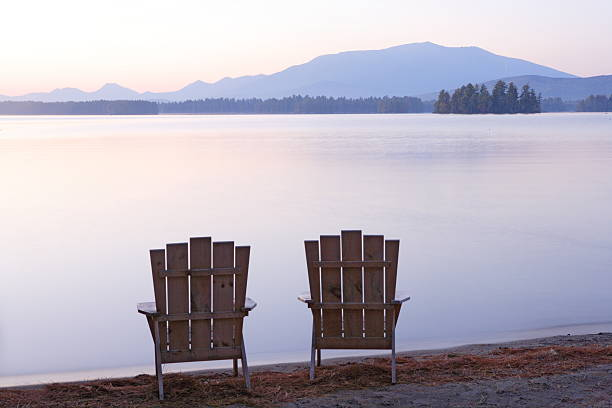 Adirondack chairs on Millinocket Lake, view of Mou