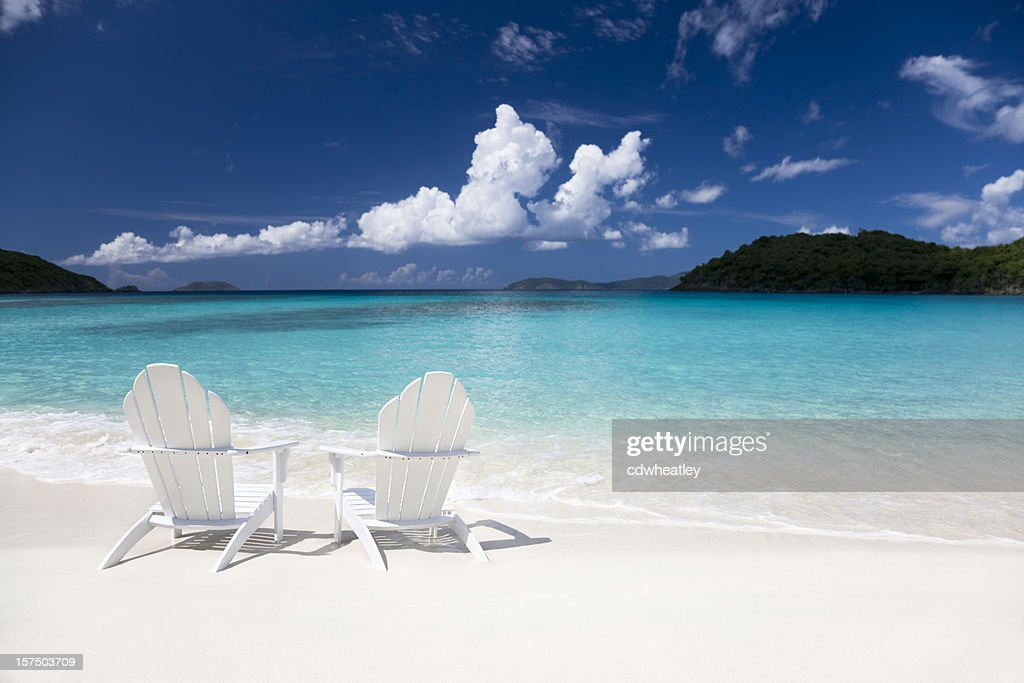 Adirondack Chairs On The Beach Stock Photo Getty Images