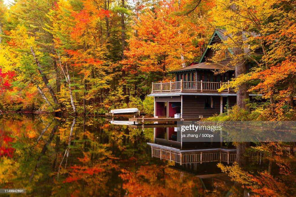 Adirondack, Fall Colors, Lack Placid, New York, Sa : Stock Photo