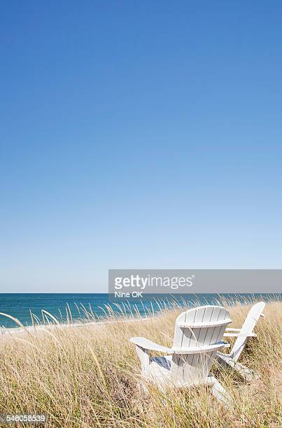 Adirondack in dunes by sea, Nantucket