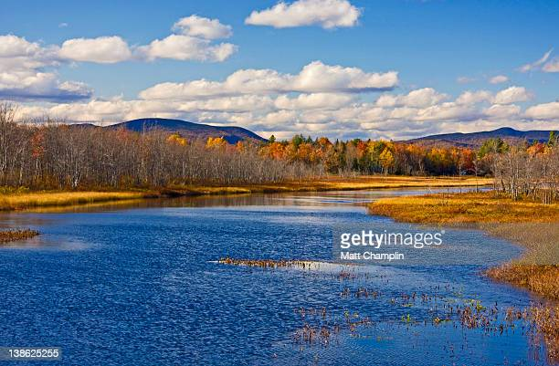 adirondack lake on beautiful fall day - lake george new york stock pictures, royalty-free photos & images