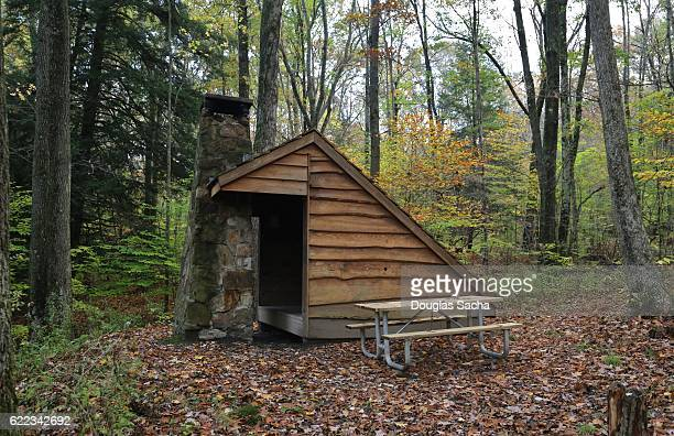 Adirondack shelter on the Gerard Trail, Oil Creek State Park, Titusville, Pennsylvania, USA